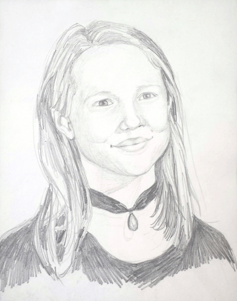 Lace - on a portrait in graphite on paper.