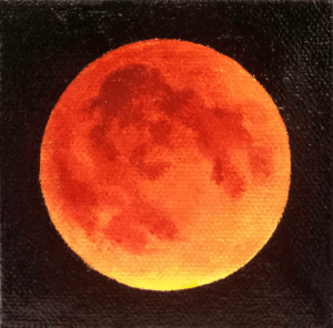Portents of Change I painting depicting total lunar eclipse